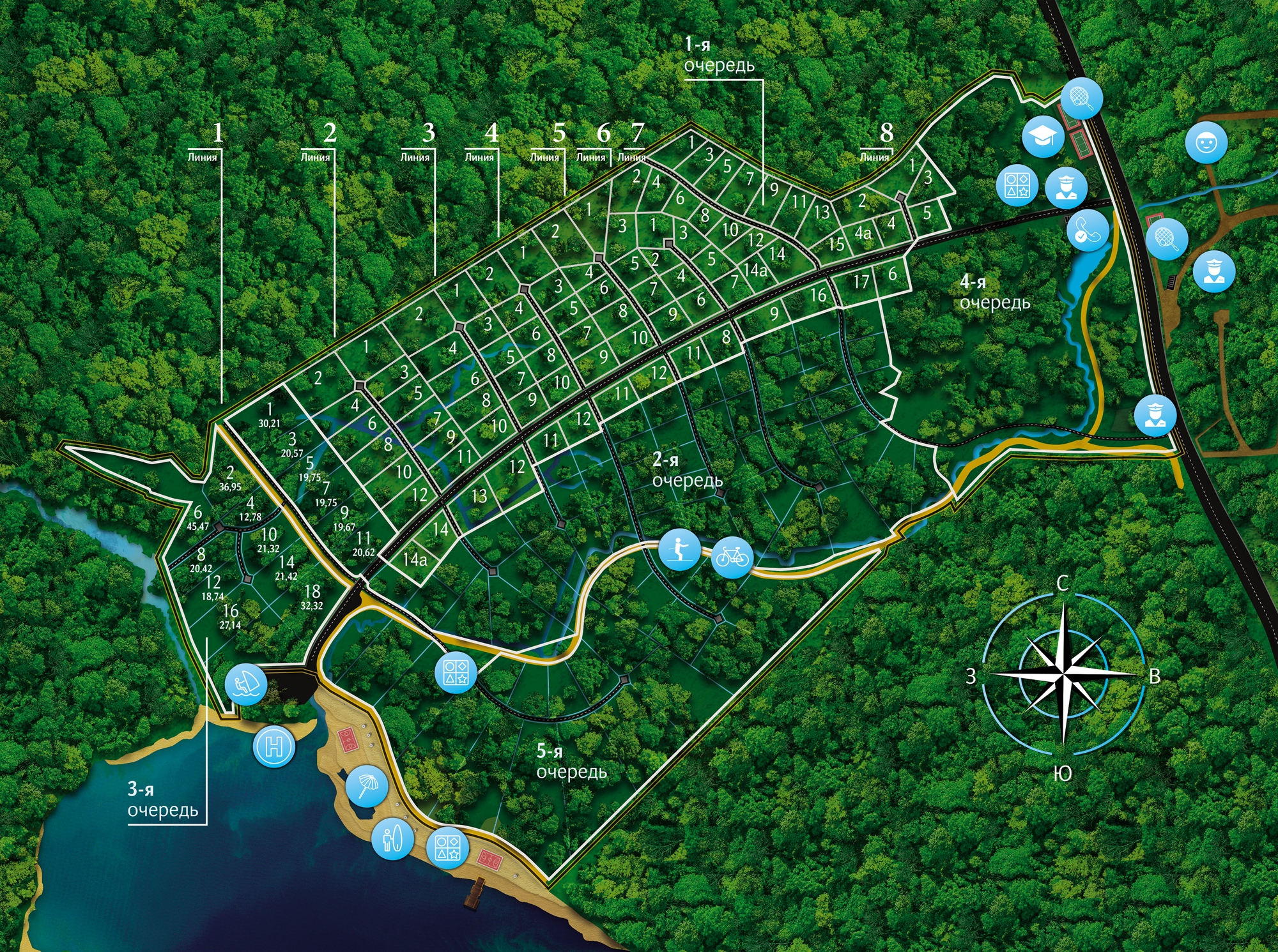 Генеральный план Резиденция у озера (Кавголовское озеро. Загородная резиденция)