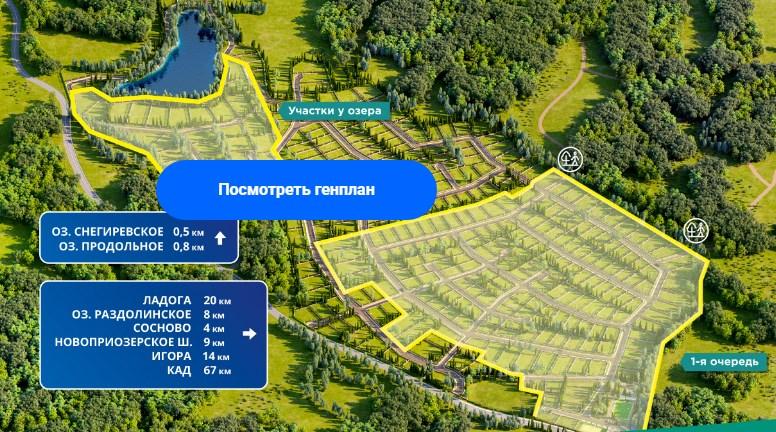 Генеральный план Сосновские Озера Forest Lounge